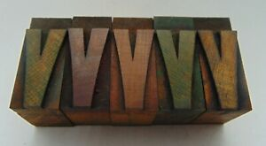 Vintage Printing Letterpress Printers Block Lot Of 5 Letter V Wood Type