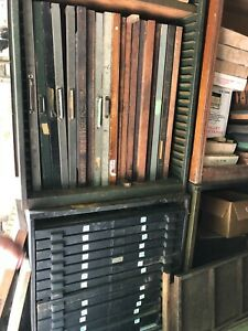 Antique Printing Equipment Linotype Hundreds Of Lead Type Drawers Letterpress