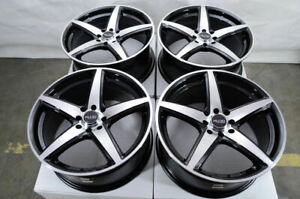 16 Black Wheels Fits Jetta Cabrio Integra Aveo Cobalt Spark Civic Miata Rims