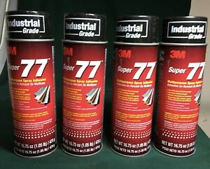 4 Cans 3m Super 77 Multipurpose Spray Adhesive Industrial Strength 16 75 Oz