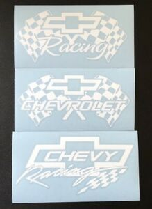 3 Chevrolet Chevy Racing White Vinyl Stickers Decals 7 X 3 5 Free Shipping