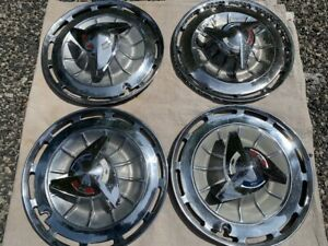 1960 S Chevrolet Impala Chevy Ss 14 Spinner Wheel Cover Hubcap Set Of 4