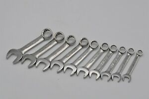 Snap On 10pc 12 Point Metric Flank Drive Midget Combination Stubby Wrench Set