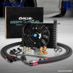 15 Row An10 Universal Engine Thermostat Racing Oil Cooler 7 Cooling Fan Kit