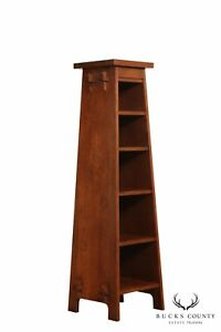 Stickley Mission Collection Oak Roycraft Magazine Pedestal Bookcase