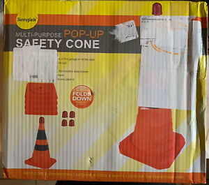 Sunnyglade 4 pack 28 Inch Collapsible Traffic Cones With Led Light