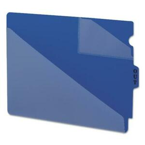 File Pocket Folders Out Guides W Diagonal Cut Pockets Poly Letter Blue 50 box