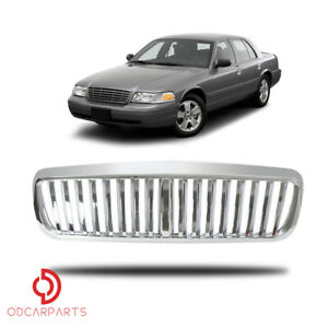 Fits Ford Crown Victoria 1998 2011 Front Upper Grille Vertical Abs Chrome