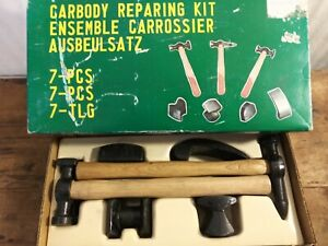Vintage Auto Body Tools Hammers Dollies 7 Pc Repair Kit 1970 s Nos Hammer Dolly
