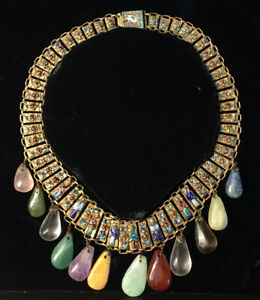 Antique 20th C Chinese Enamel Eight Immortals Collar Necklace Jade