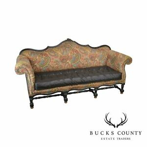 French Louis Xiv Style Old Hickory Tannery Tufted Brown Leather Paisley Sofa