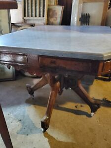 Marble Topped Victorian Table 27 3 4 X 24 X 23 High