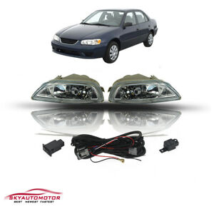 Fit Toyota Corolla 2001 2002 Front Bumper Fog Driving Light Lamp Kits Clear Lens