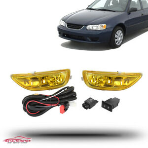 Fit Toyota Corolla 2001 2002 Front Bumper Fog Driving Light Lamp Kit Yellow Lens