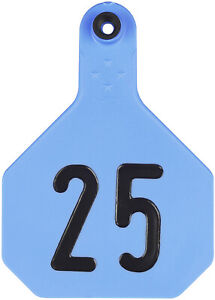 Y tex Large 4 Star Cattle Ear Tags Blue Numbered 51 75