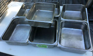 Lot Of 7 Stainless Steel Half Size 4 Deep Steam Table Pans 1 2