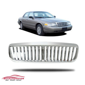 Fits 1998 2011 Ford Crown Victoria Front Upper Grille Grille Vertical Abs Chrome