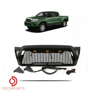 Fit Toyota Tacoma 2005 2011 Front Upper Grille Honeycome With Lights Gloss Black