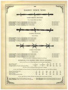 1902 PAPER AD Barbed Fence Wire Baker 2 Two Point Glidden Lyman 4 Four Point $19.99