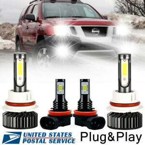 4pcs 200w 9007 H11 Led Headlight Fog Light Bulbs Plug play For Nissan Frontier
