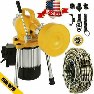 Drain Auger Cleaner Machine 6cutter Snake Sewer Clog 3 4 4 sectional Pip Us