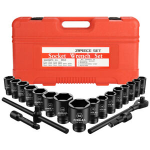 3 4 Inch Drive Jumbo Impact Socket Set 6 Point Metric 21pcs Extension Drive Bar