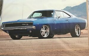 1968 Dodge Charger R t Blue Car 24 x36 Poster