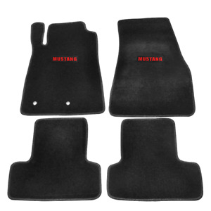 For 05 09 Ford Mustang Coupe Floor Mats Carpets Nylon Black W Red Mustang