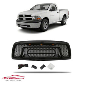 Fits 2009 2012 Dodge Ram 1500 Rebel Style W lights letters Grille Gloss Black