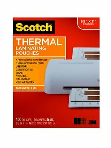Scotch 8 5 X 11 5 Mil Office Ultra Clear Thermal Laminating 100 Count Pouches