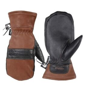 Wells lamont Mens Brown Leather Hydrahyde Winter Mittens water resistant gloves