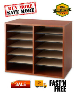 Adjustable 12 slot Wood Literature Organizer 1 Each Made With Hardboard