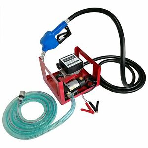 12v Dc 155w Electric Fuel Transfer Oil Pump With Automatic Nozzle Fuel Meter