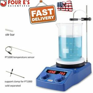 Four E s 5 Inch Led Digital Magnetic Hotplate Stirrer With Stirrer Stand Pt1000