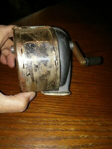 Vintage Hand crank Boston Model L Metal Pencil Sharpener Table wall Mount