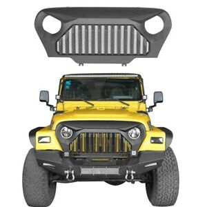 For 97 06 Wrangler Jeep Tj Abs Front Grille Guard Cover W Mesh Matte Black