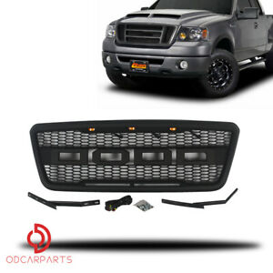 Fits Ford F150 2004 2008 Front Upper Grille Grill Raptor Style With Light Black