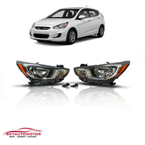 Fits 2012 2013 2014 Hyundai Accent Sedan Hatchback Headlights Black Housing Set