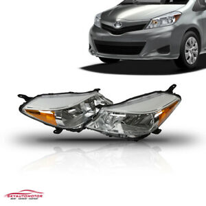 Fit 2012 2013 2014 Toyota Yaris Hatchback Headlights Headlamps Chrome Housingset