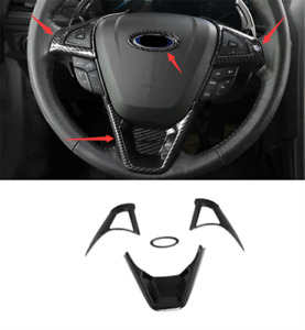 Carbon Fiber Steering Wheel Decoration Cover Trim For Ford Fusion Mondeo 17 2020