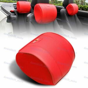 Red Leather Car Seat Memory Foam Neck Rest Cushion Pillow Mitsubishi Ralliart X2