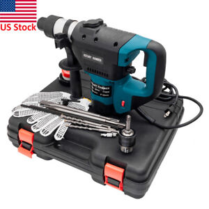 1100w 1 1 2 Sds Plus Electric Rotary Hammer Drill Corded Variable Speed Bit Set