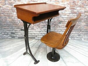 Antique 1906 Cast Iron Wood Child S School Desk Bentwood Chair Adjustable