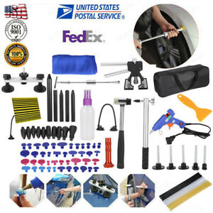 100pc Paintless Dent Repair Puller Lifter Tool T Bar Hammer Removal Glue Kit Us