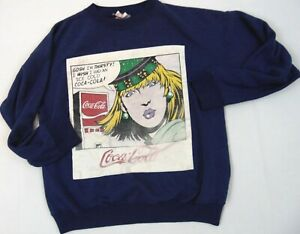 COCA COLA Vintage Woman's Crew Neck Sweat Shirt with Large Patch Sewn on Front