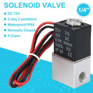 1 4 12v Dc Electric Solenoid Valve Air Gas Water Fuel Normally Closed 2 Way