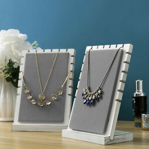 Mygift Set Of 2 Vintage White And Gray Panel Necklace Tabletop Display Stands