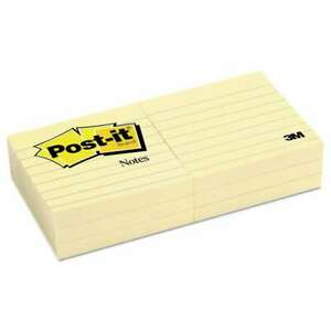 Post it Notes Original Pads In Canary Yellow 3 X 3 Lined 100 021200591891