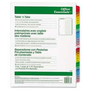 Office Essentials Table n Tabs Dividers 31 tab Letter 072782116811
