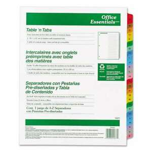 Office Essentials Table n Tabs Dividers 26 tab Letter 072782116774